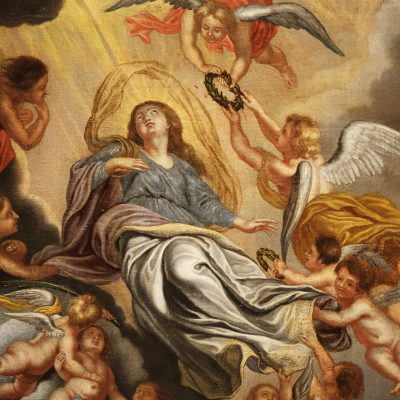 'The assumption of the virgin Mary', oil on panel