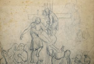 A112 'The Descent From The Cross' A 19th Century Dutch School Preliminary Study Drawing